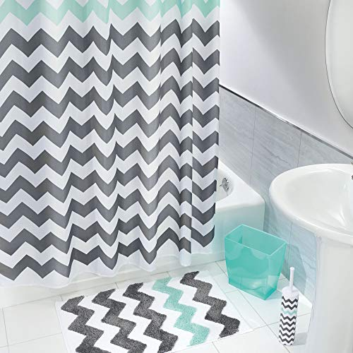 (mDesign Chevron Fabric Shower Curtain, Microfiber Accent Rug, Toilet Bowl Brush, Wastebasket Trash Can - Set of 4, Gray/Aruba Blue)