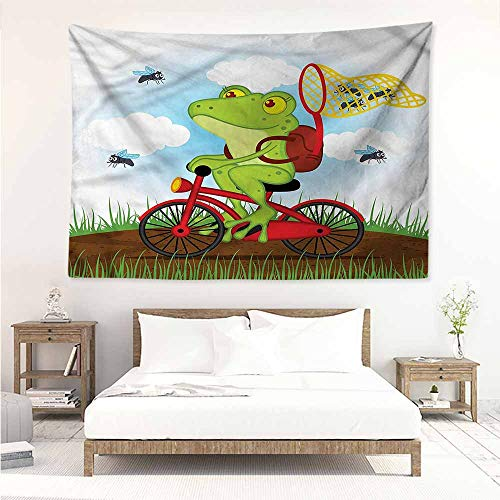 Sunnyhome DIY Tapestry,Animal Frog on a Bike Hunting Flies,Tapestry for Home -