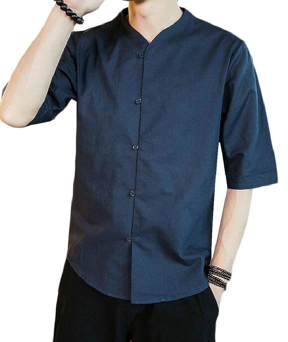 YYG Men Chinese Style Classic Linen Short Sleeve Mandarin Collar Shirts