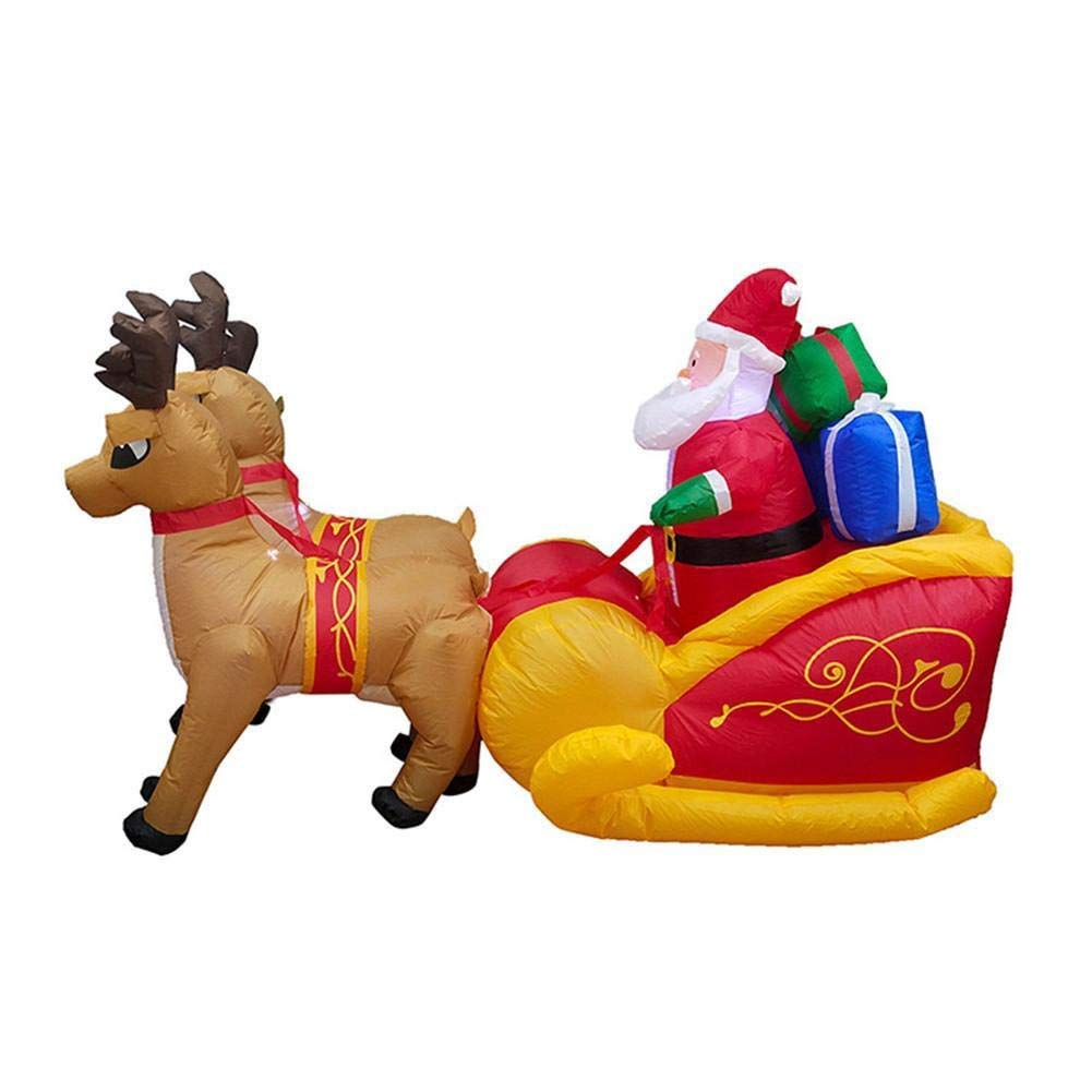 LUYIYI Christmas Double Deer Cart,inflator Ornament Elk Sleigh for Christmas Garden Decoration by LUYIYI