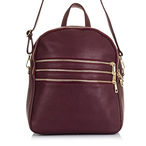 FIRENZE ARTEGIANI.Mochila de mujer casual piel auténtica.Bolso mochila cuero genuino piel DOLLARO.DAY PACK casual.Triple cremallera frontal.MADE IN ITALY.VERA PELLE ITALIANA.26x30x15cm.Color NEGRO Morado