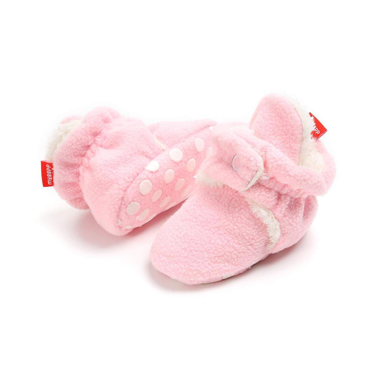 Newborn Baby Boys Girls Fleece Booties with Anti-Slip Bottom Unisex Infant Warm Winter Socks First Walker Shoes