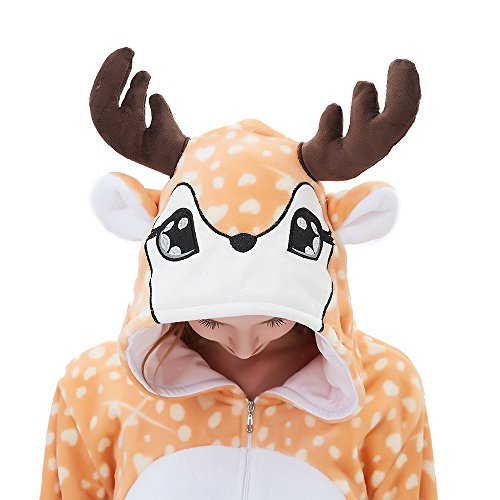 ABENCA Zip up Fleece Onesie Pajamas for Women Adult Cartoon Animal Halloween Christmas Cosplay Onepiece Costume, Deer, S