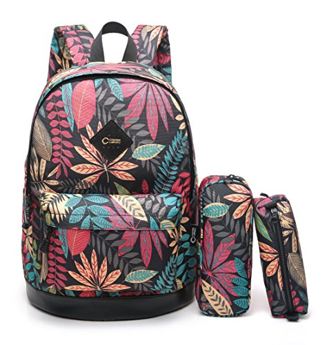 CrossLandy High School Bookbag Floral Print School Backpack Fits 15