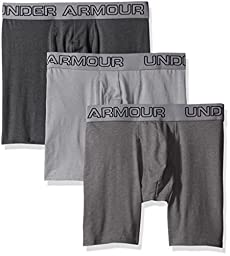 "Under Armour Men\'s Charged Cotton Stretch 6"" Boxerjock 3-Pack, Steel/Graphite, Medium"