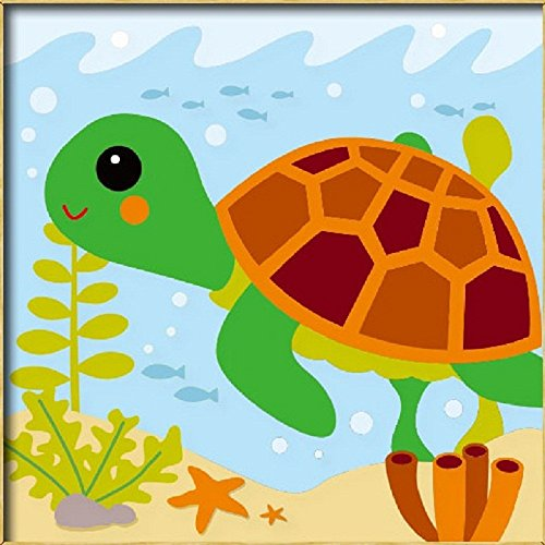 Diy oil painting, paint by number kits for kids – Little turtle 8″X 8″.