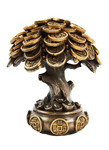 Ebros Feng Shui Gold Tree Statue Golden Money Coin Tree of Wealth And Abundance Decor Talisman - Coin Money Lucky Talisman