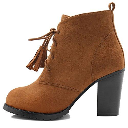 US Tassel 7 5 Block Size Women's Booties Lace Camel up K Allegra Ankle Heel IUHwvPq7q