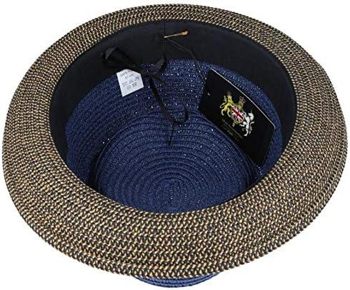 with Adjustable String MAZ Summer Paper Straw Pork Pie Hat