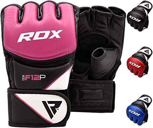 RDX MMA Gants de Grappling Arts Martiaux Entra/înement D Cut Palm Maya Hide Cuir Sparring Mitts Parfait pour Cage Combat Sports Sac de Frappe Muay Thai Kickboxing M bleu