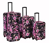 Rockland Luggage Brown Leaf 4 Piece Luggage Set, Pucci, One Size