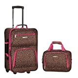 Rockland Rio Upright Carry-On & Tote 2-Piece Luggage Set - Pink Leopard