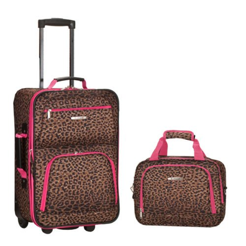 rockland-rio-upright-carry-on-tote-2-piece-luggage-set-pink-leopard