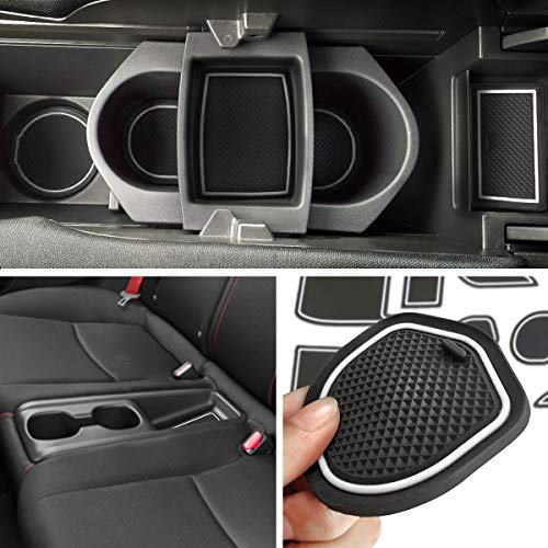 (Auovo Anti-dust Door Pocket Liners Cup Holder Console Mats Accessories Fit for Honda Civic Type R 2016 2017 2018 (Pack of 21, White))