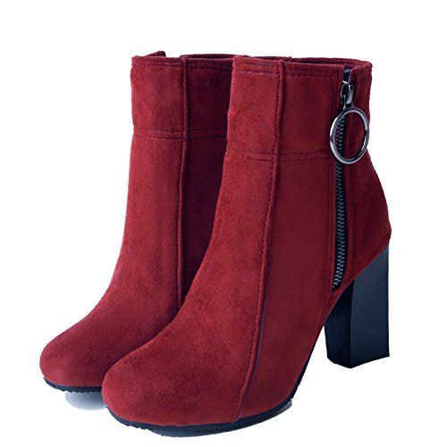 Boots Zipper COOLCEPT Women Red Heels X4q7CPwH