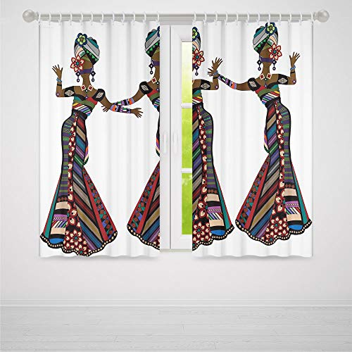 ALUONI Decor Collection,African Woman,for Living Room,Young Women in Stylish Native Costumes Carnival Festival Theme Dance Moves Decorative2 Panel Set,103W X 83L Inches ()