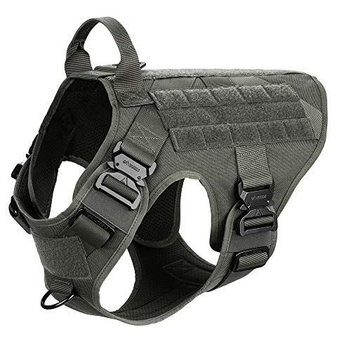 ICEFANG Tactical Dog Harness,K9 Working Dog Vest,No Pulling Front Clip Leash Attachment (L (28