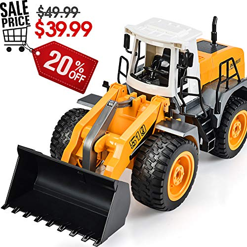 DOUBLE  E RC Front Loader 8 Channel Full Functional RC Bulldozer Truck Electric Remote Control Tractor with Lights & Sounds ()