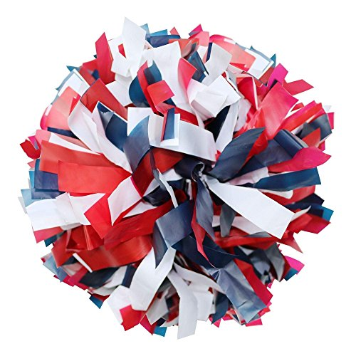 Danzcue 1 Pair 6 Inches Plastic Cheerleading Pom Poms with Dowel Handle, Red-Navy-White -