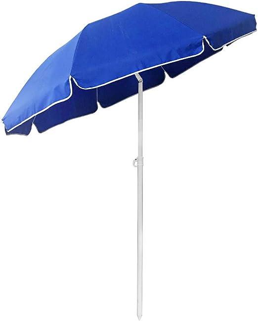 Aufun - Sombrilla para playa de 200 cm, plegable, de poliéster UV50+, protección solar para jardín, terraza, playa, altura regulable 135-208 cm, color azul, Color azul redondo.: Amazon.es: Jardín