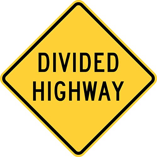 Traffic Signs - Divided Highway 12 x 18 Magnet Sign Street Weather Approved Sign ()