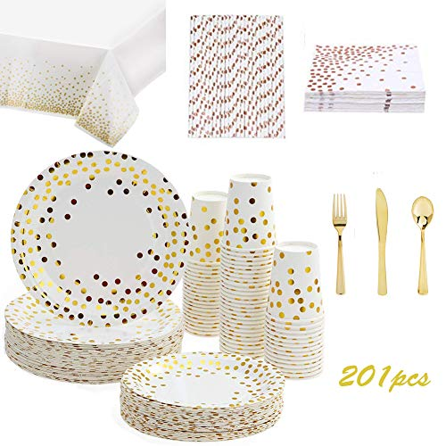 201PCS Gold Dot Disposable Paper Plates Set,Tableware Sets Include 25 Dinner Plates, 25 Dessert Plates, 25 Paper Cups…