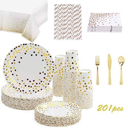 201PCS Gold Dot Disposable Paper Plates Set,Tableware Sets Include 25 Dinner Plates, 25 Dessert Plates, 25 Paper Cups…