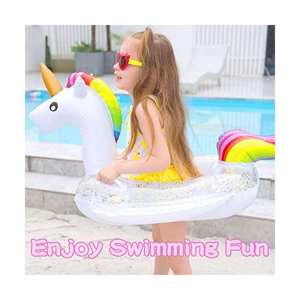 Unicorn Baby Swimming Pool Float with Canopy, Glitters Seat & Safety Handle, 2021 Summer baby floats for pool… 6