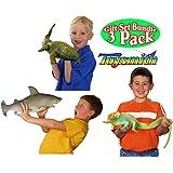 Toysmith Ginormous Grow Shark, Crocodile & Lizard Gift Set Bundle - 3 Pack (Assorted Colors)