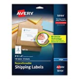 Avery Repositionable Shipping Labels for Inkjet Printers 3-1/3'' x 4'', Box of 150 (58164)