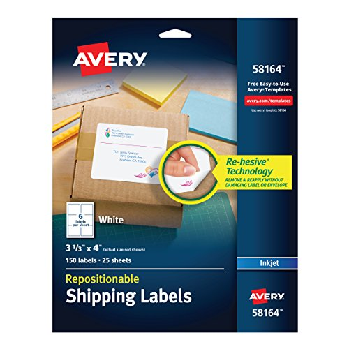 Address Label Repositionable Avery (Avery Repositionable Shipping Labels for Inkjet Printers 3-1/3