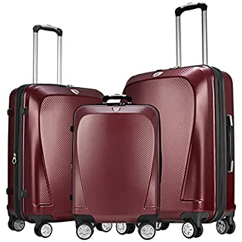 Image of Luggage GinzaTravel Widened and thickened large capacity PC Material Luggage 3 Piece Sets Lightweight Spinner Suitcase Luggage Expandable(all 20 24 28)