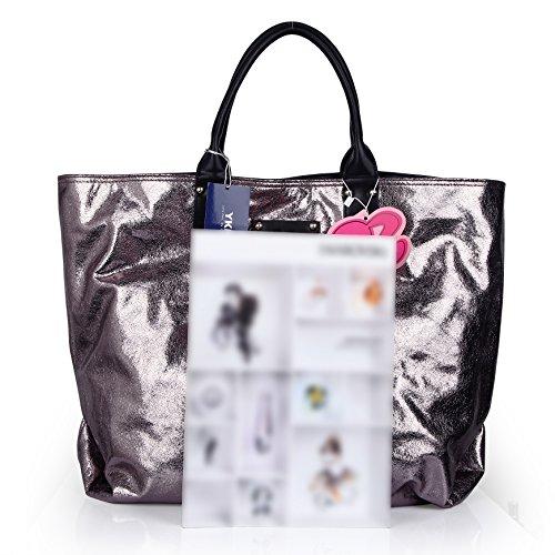Barbie Borsa Shopping Grande in PU da Donna Ragazza Bambina Colore Argento, 53*39*18cm#BBFB081.01A