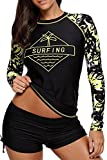Anmengte 2 Pcs Women's Swimsuit Rash Guard Long Sleeve Tankini UV Sun Protection Athletic Cover up Swimwear(Black Surfing,XL)