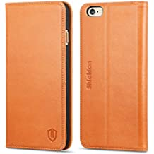 iPhone 6S Case iPhone 6 Case, SHIELDON Genuine Leather Wallet Folio Case Book Design with Stand and ID Credit Card Slots Magnetic Closure for iPhone 6/6S, Cognac Brown