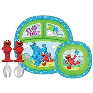 Munchkin, Calle Sesame, Juego de comedor para Niños Pequeños, 4 piezas