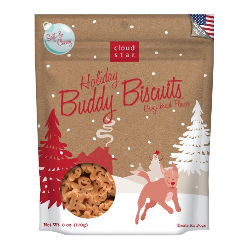 Cloud Star Holiday Soft and Chewy Buddy Pet Biscuits, 6-Ounce, Gingerbread