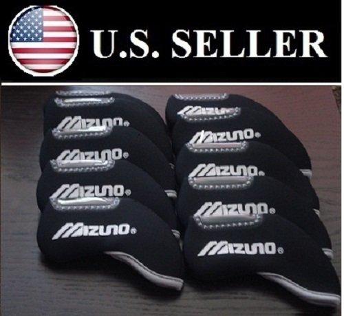New!! Mizuno 10pcs Black Headcover for Any Iron Club - Neoprene Head Covers Neoprene Oversize Iron Covers