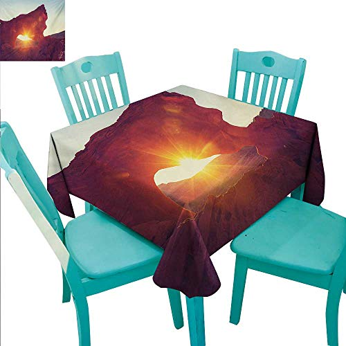 WilliamsDecor Canyon Washable Table Cloth Sun Reflections Over Ancient Cave Shaped Little Cliff Hot Region Artifact Photography Great for Buffet Table 54