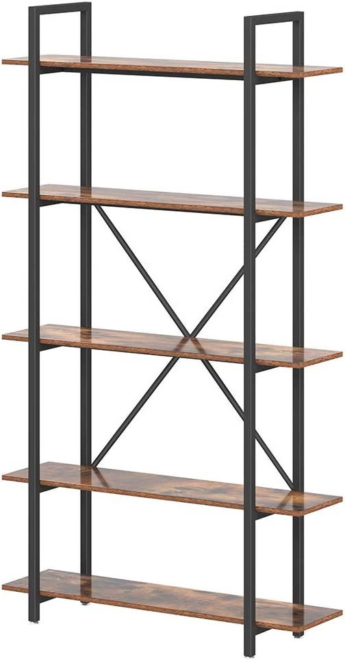 Bookshelf and Bookcase 4-Tier, Industrial Bookshelves Storage Display Shelves, Home Office Furniture, Wood and Metal Frame Vintage Brown