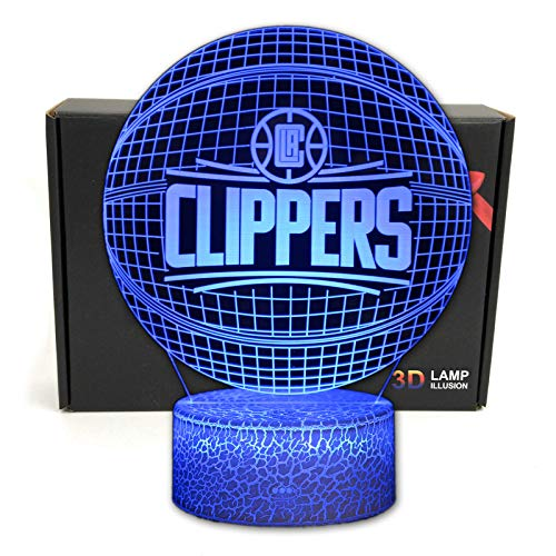 DGLighting Basketball Shape 3D Optical Illusion Smart 7 Colors LED Night Light Table Lamp with USB Power Cable, for NBA Fans Gift