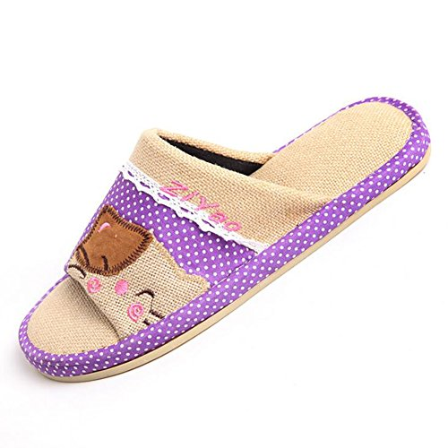 Flip C Household 41 Slippers 42 Autumn Flops Indoor Comfortable Thick Bottom E Flax Breathable Cotton zfdx6qT