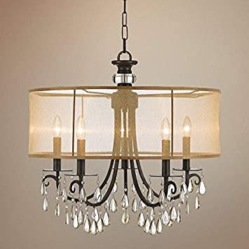 Crystorama 5625-EB Crystal Accents Five Light Chandelier from Hampton collection in Bronze Darkfinish,