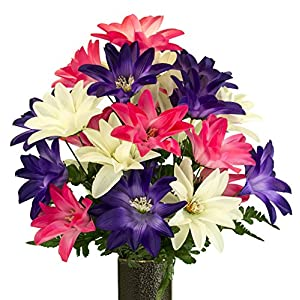 Pink White Purple Dahlia, Artificial Bouquet, featuring the Stay-In-The-Vase Design(c) Flower Holder (MD2076) 56