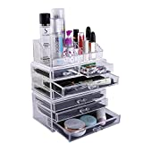 Lovinland Makeup Organizer Set 2 Small Drawer and 5 Large Drawer Plastic Cosmetic Jewelry Display Storage Rack Transparent