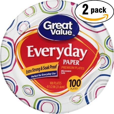 Great Value 8 5/8'' Heavy Duty Premium Party Paper Plates, 100 ct (Pack of 2, Total of 200 Plates)