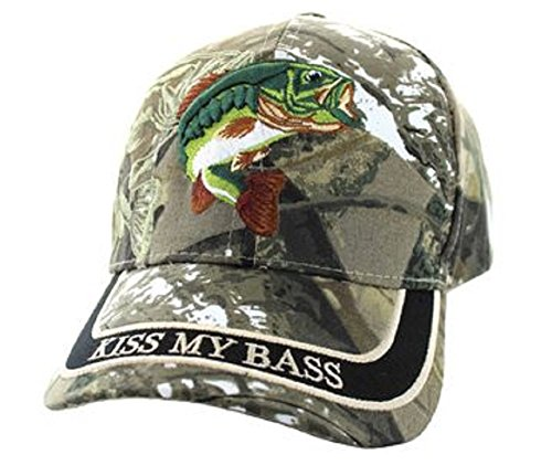 Kiss My Bass Hat - Funny Fishing Fisherman Gift -100% Cotton Embroidered Cap -