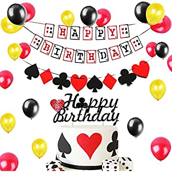 Amazon.com: Juego de 15 pancartas de póquer de cumpleaños ...