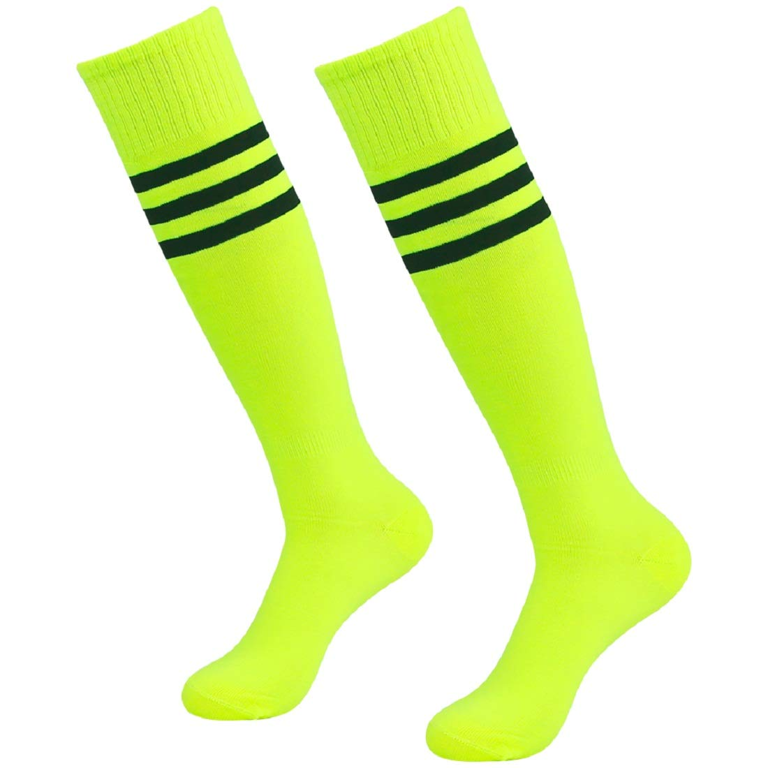 3street Youth Over The Calf Socks, Unisex Summer Breathble Knee-High Triple Striped Sport Tube Soccer Football Team Socks Neo Yellow+Black Stripe 2-Pairs,7-13 by Three street