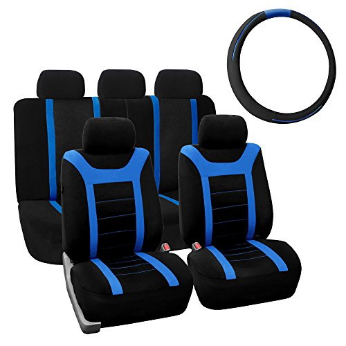 FH Group FH-FB070115+FH2003 Sports Fabric Car Seat Covers, Airbag Compatible and Split Bench w. Leather Steering Wheel Cover Blue- Fit Most Car, Truck, SUV, or Van